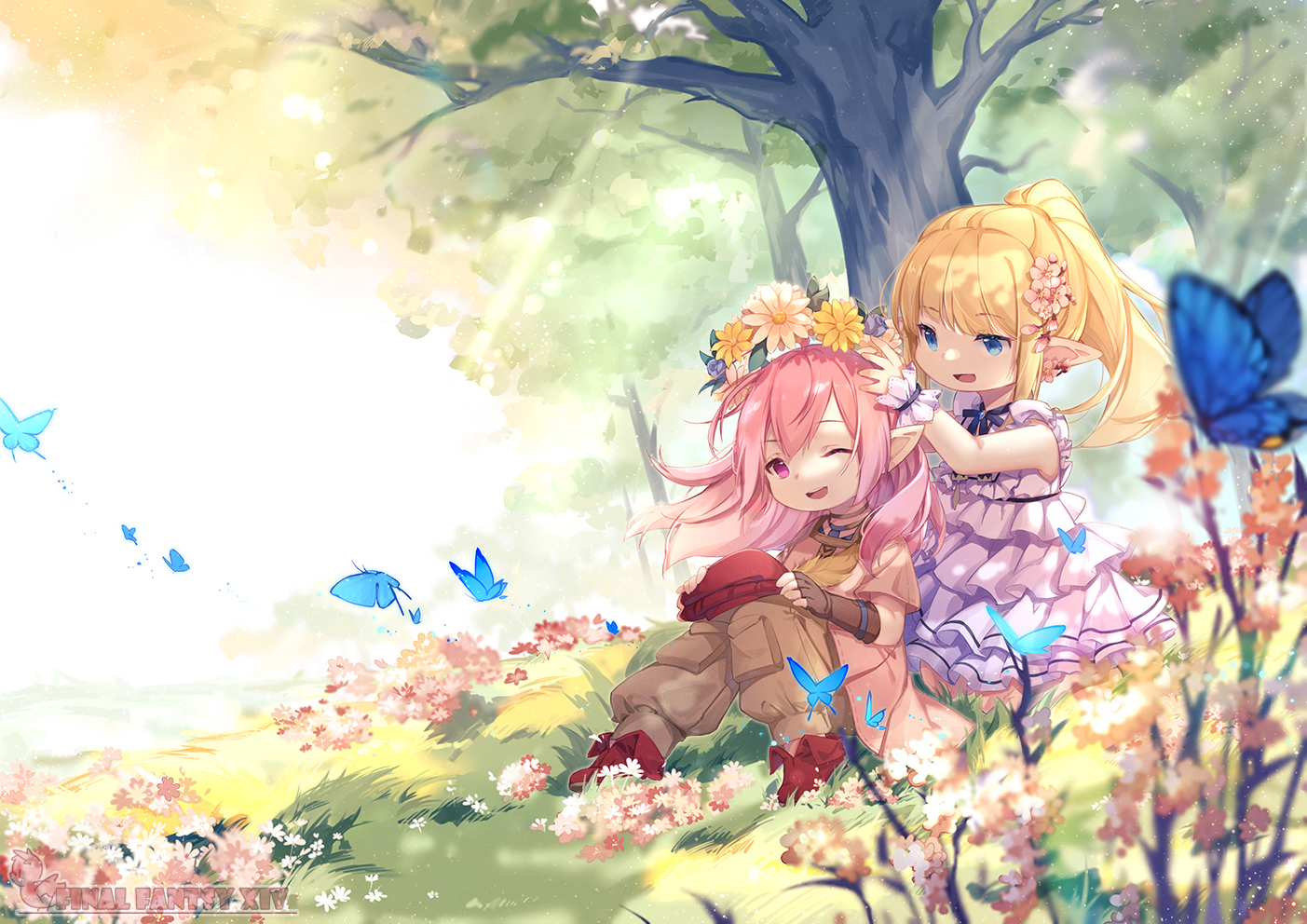 blonde_hair blue_eyes butterfly dress elbow_gloves final_fantasy final_fantasy_xiv flowers fy_fei_xiao_ya gloves hat lalafell loli pink_eyes pink_hair pointed_ears tree