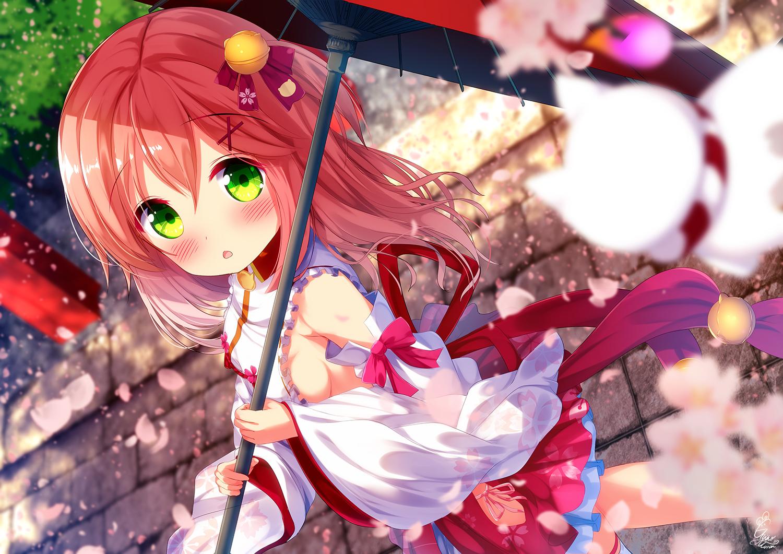 bell blush chinomaron green_eyes hololive japanese_clothes miko pink_hair ribbons sakura_miko sideboob signed umbrella