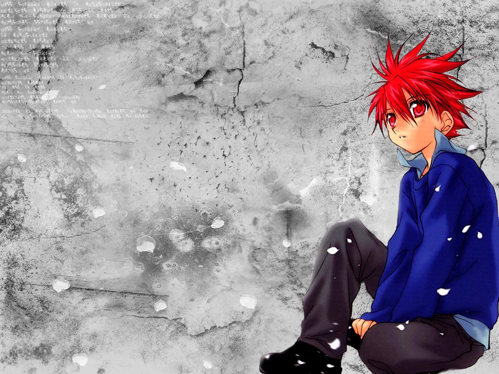 all_male dnangel gray male niwa_daisuke petals red_eyes red_hair sugisaki_yukiru