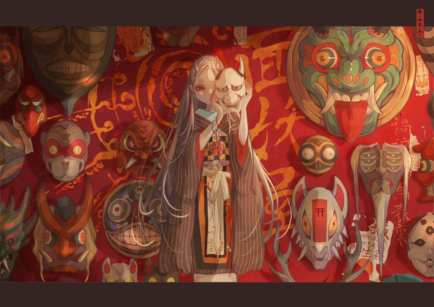 demon horns japanese_clothes kimono long_hair mask nanahara_shie original red_eyes white_hair