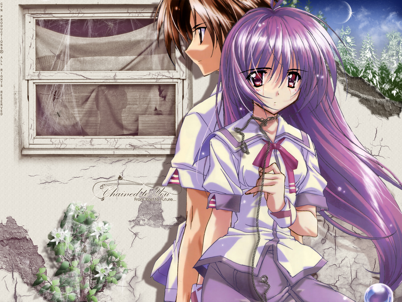 asaba_naoyuki brown_eyes brown_hair iriya_kana iriya_no_sora_ufo_no_natsu long_hair necklace purple_hair red_eyes school_uniform short_hair