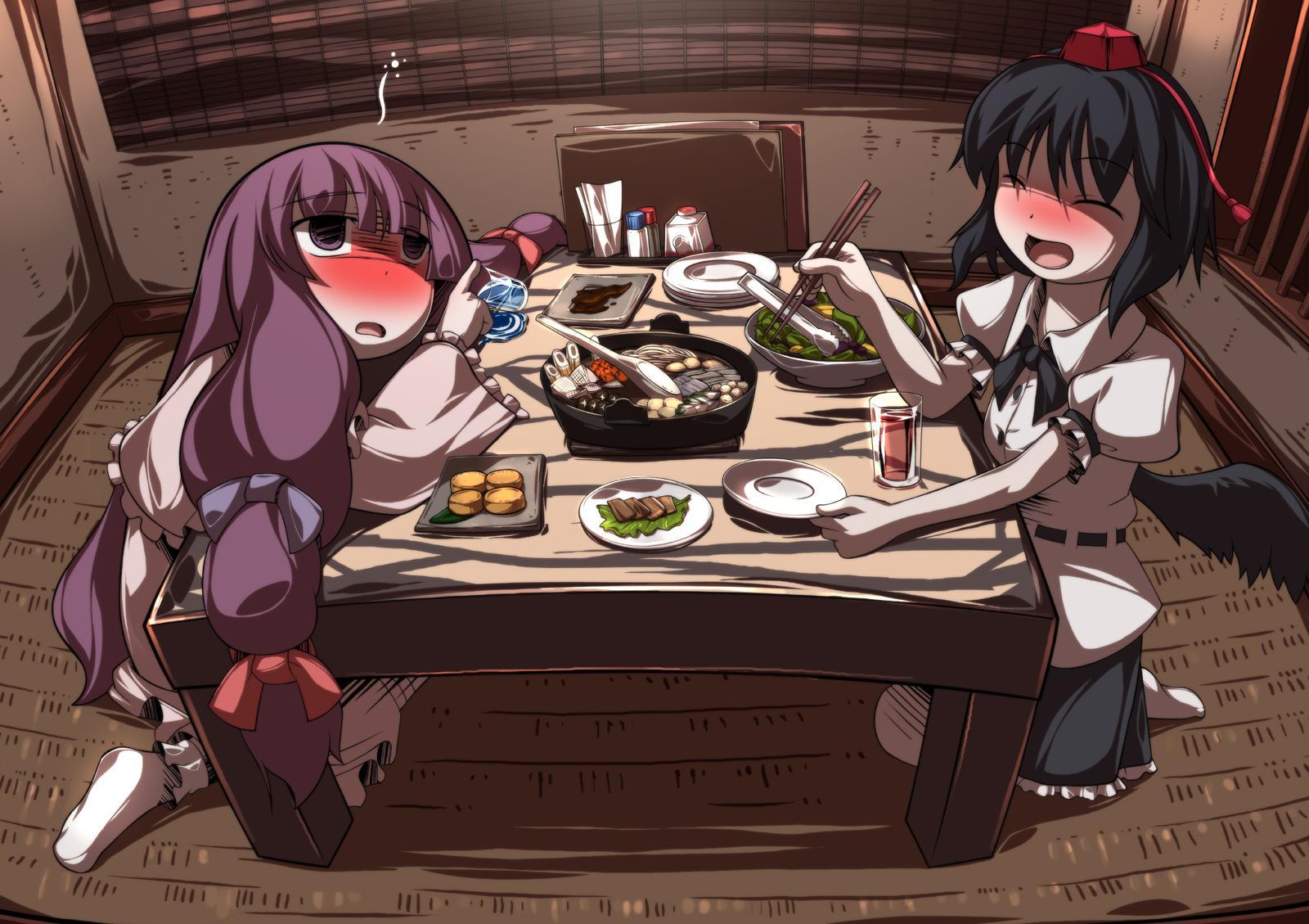 2girls drink food kotatsu patchouli_knowledge shameimaru_aya touhou