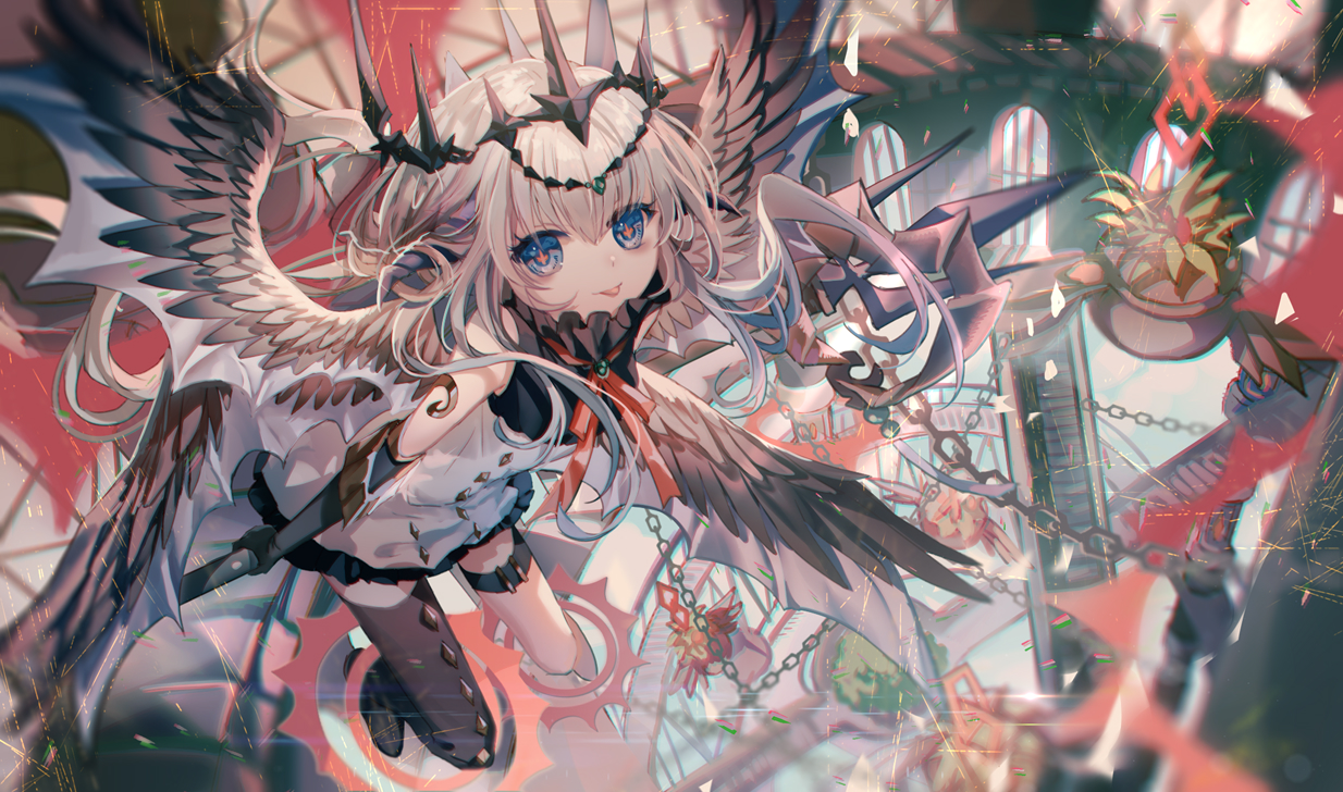blue_eyes chain garter gray_hair headdress long_hair original thighhighs wings yasato