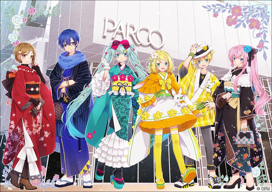 bow gloves hakusai hat hatsune_miku japanese_clothes kagamine_len kagamine_rin kaito kimono lolita_fashion male megurine_luka meiko vocaloid