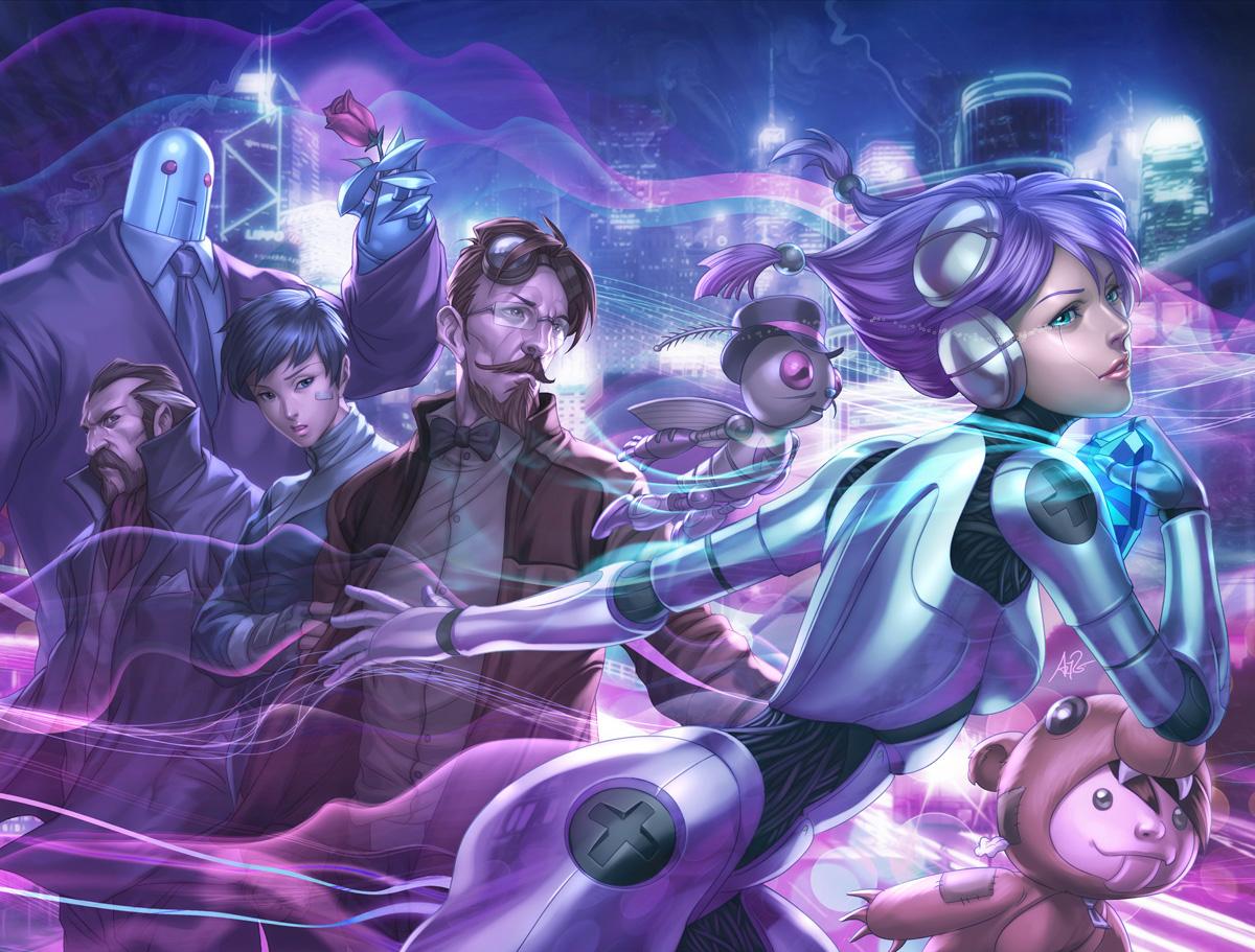 black_hair blue_eyes blue_hair brown_hair flowers glasses hat male purple purple_hair robot rose stanley_lau suit tears tie