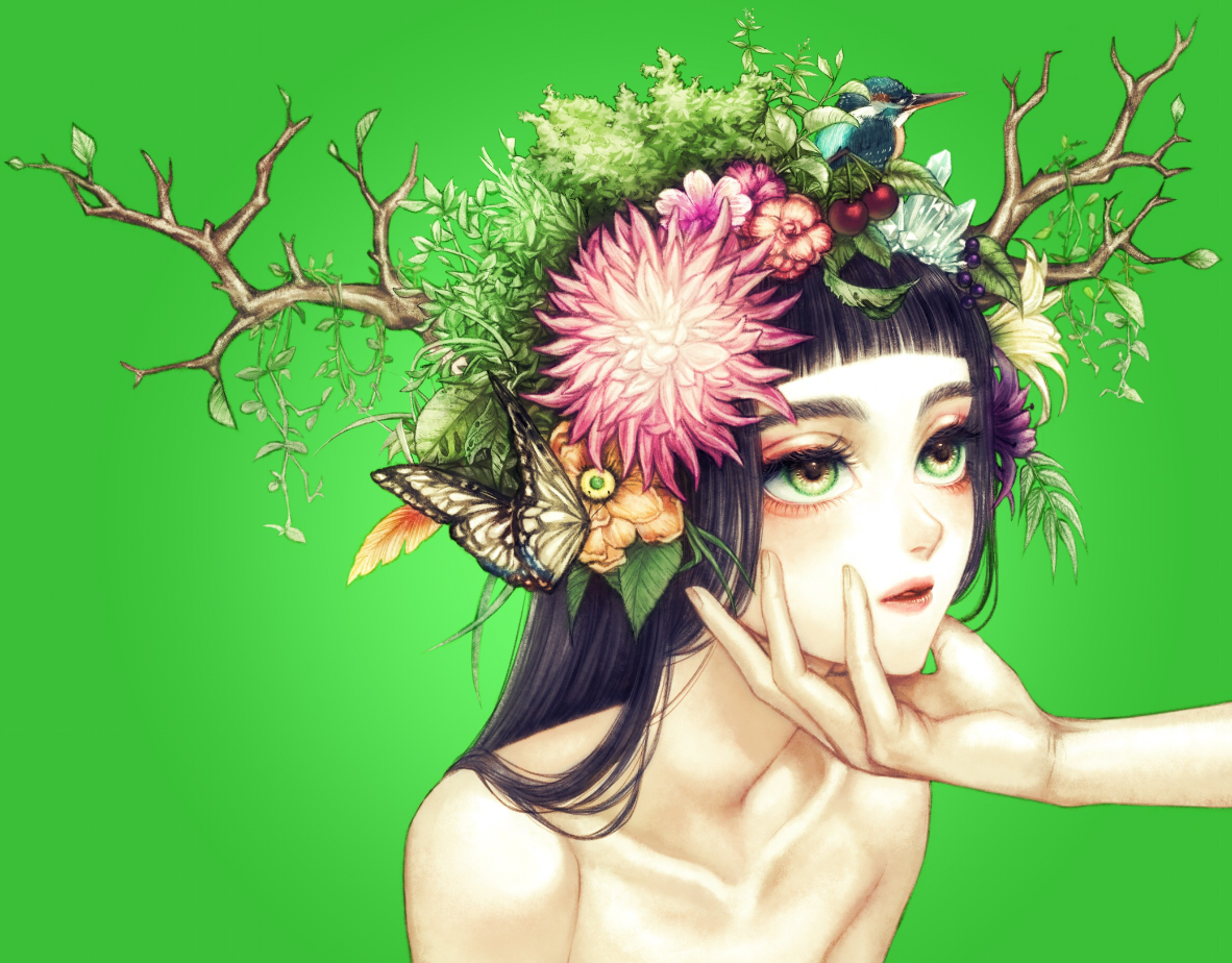 animal bird black_hair butterfly close flowers green green_eyes horns ohagi_(ymnky) original topless tree