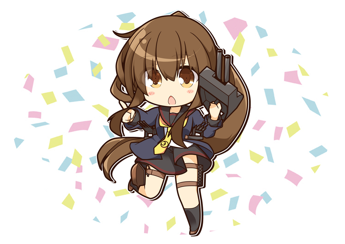 anthropomorphism blush brown_eyes brown_hair chibi fumizuki_(kancolle) kantai_collection kisaragi_yuu_(re:lucks) kneehighs long_hair school_uniform skirt