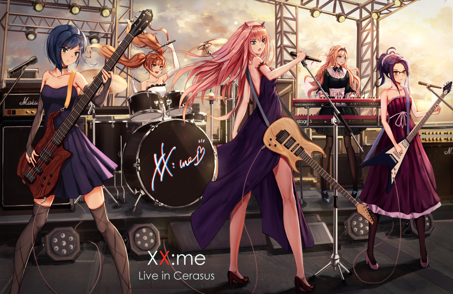 darling_in_the_franxx dress drums group guitar horns ichigo_(darling_in_the_franxx) ikuno_(darling_in_the_franxx) instrument kokoro_(darling_in_the_franxx) microphone miku_(darling_in_the_franxx) moon_yuzuriha piano thighhighs twintails zero_two