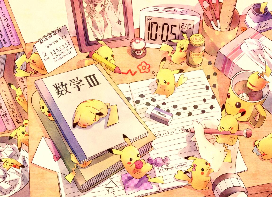book brown_hair foongus n pikachu pokemon torute touko_(pokemon)