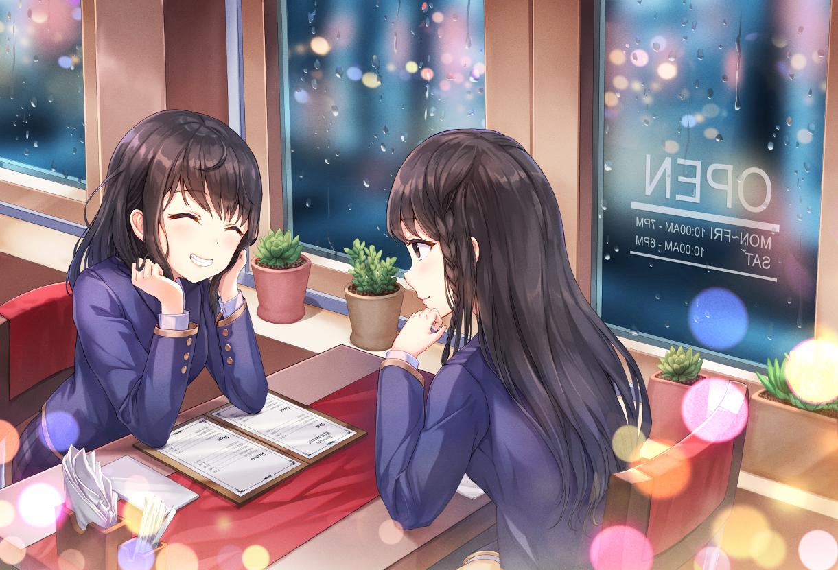 2girls black_hair braids long_hair lunacle original seifuku