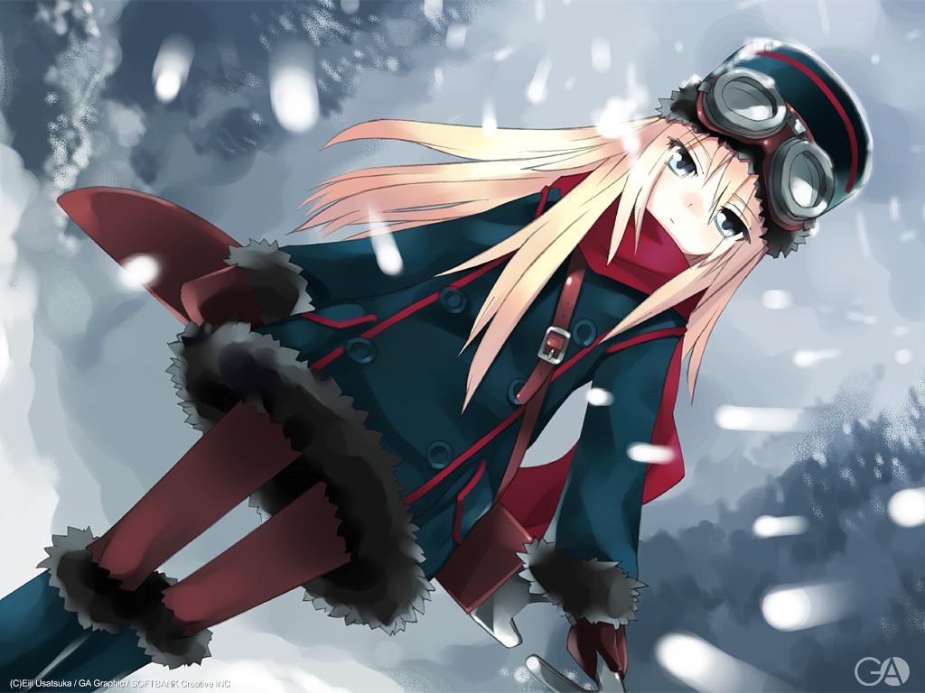 blonde_hair blue_eyes gagraphic goggles hat logo long_hair scarf snow usatsuka_eiji watermark