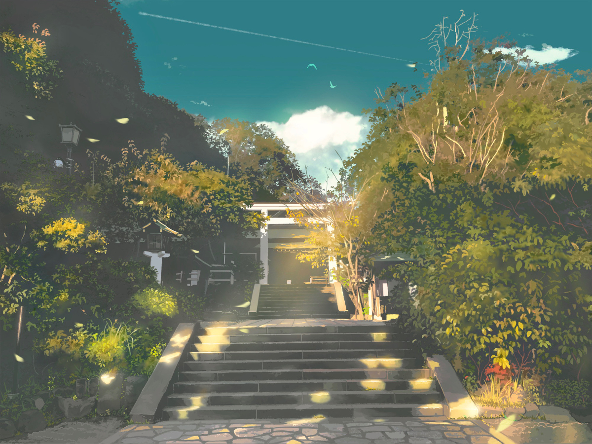 kamo_nasus. leaves nobody original realistic scenic shrine stairs torii tree