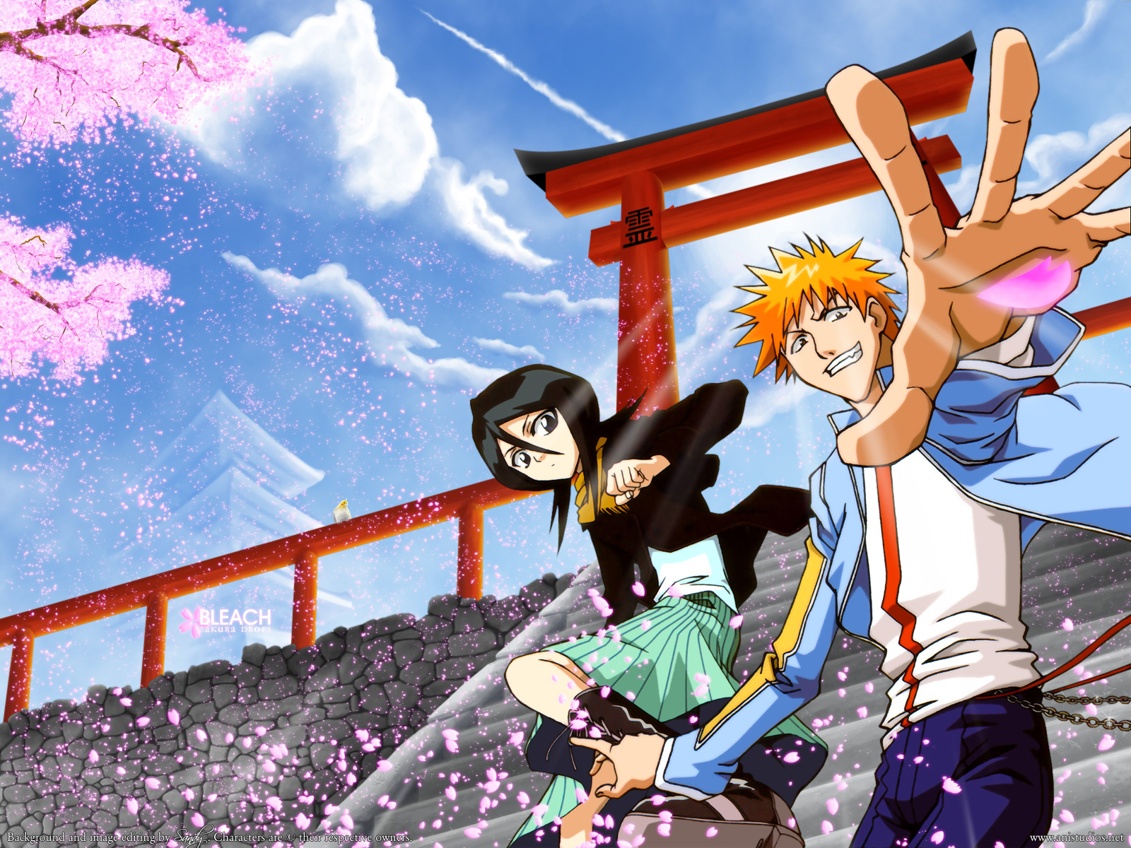 animal bird black_hair bleach boots brown_eyes chain cherry_blossoms clouds flowers jpeg_artifacts kuchiki_rukia kurosaki_ichigo male orange_hair petals purple_eyes scarf short_hair skirt sky stairs torii tree watermark