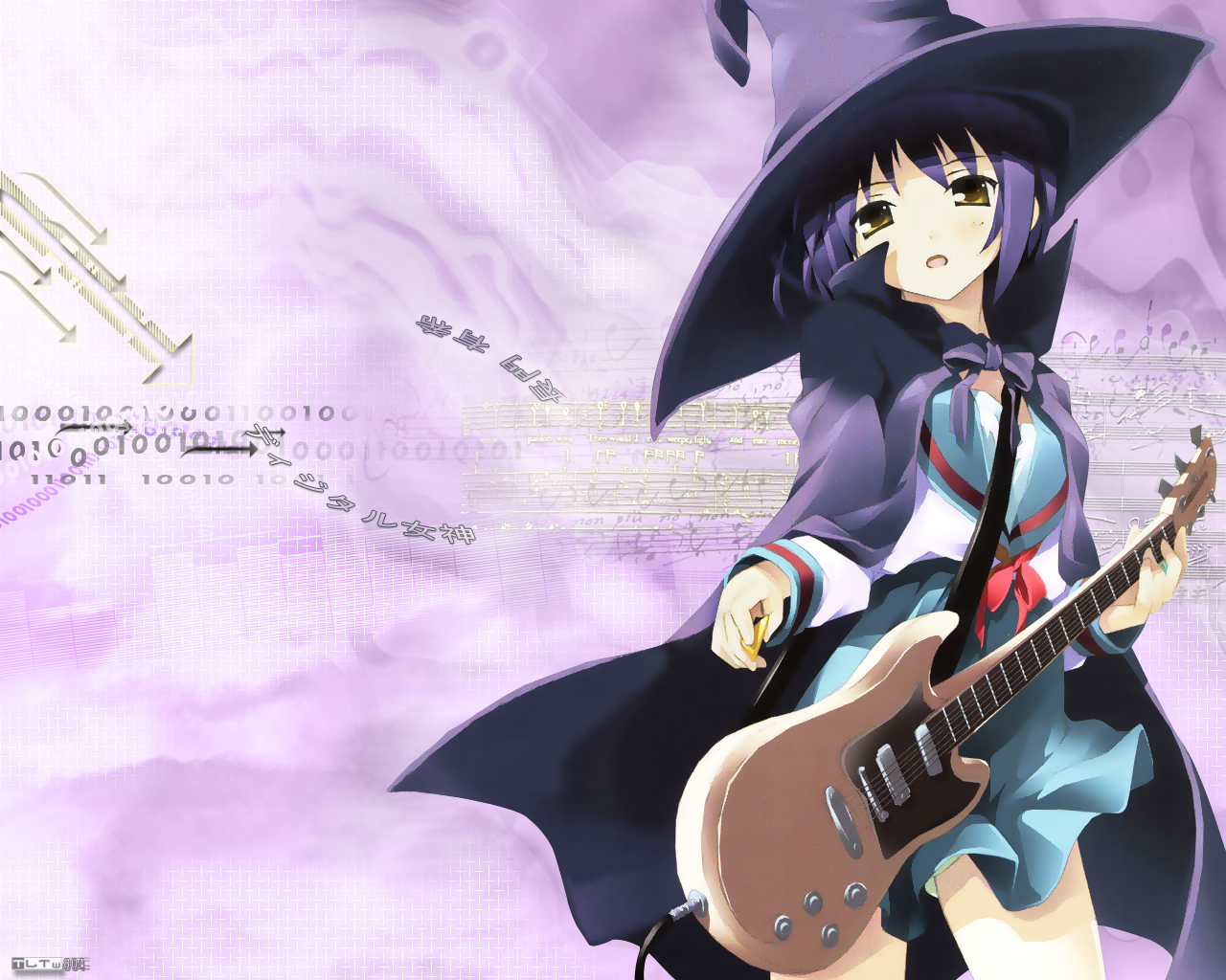 bow cape guitar hat instrument nagato_yuki purple_hair ribbons school_uniform short_hair suzumiya_haruhi_no_yuutsu witch yellow_eyes