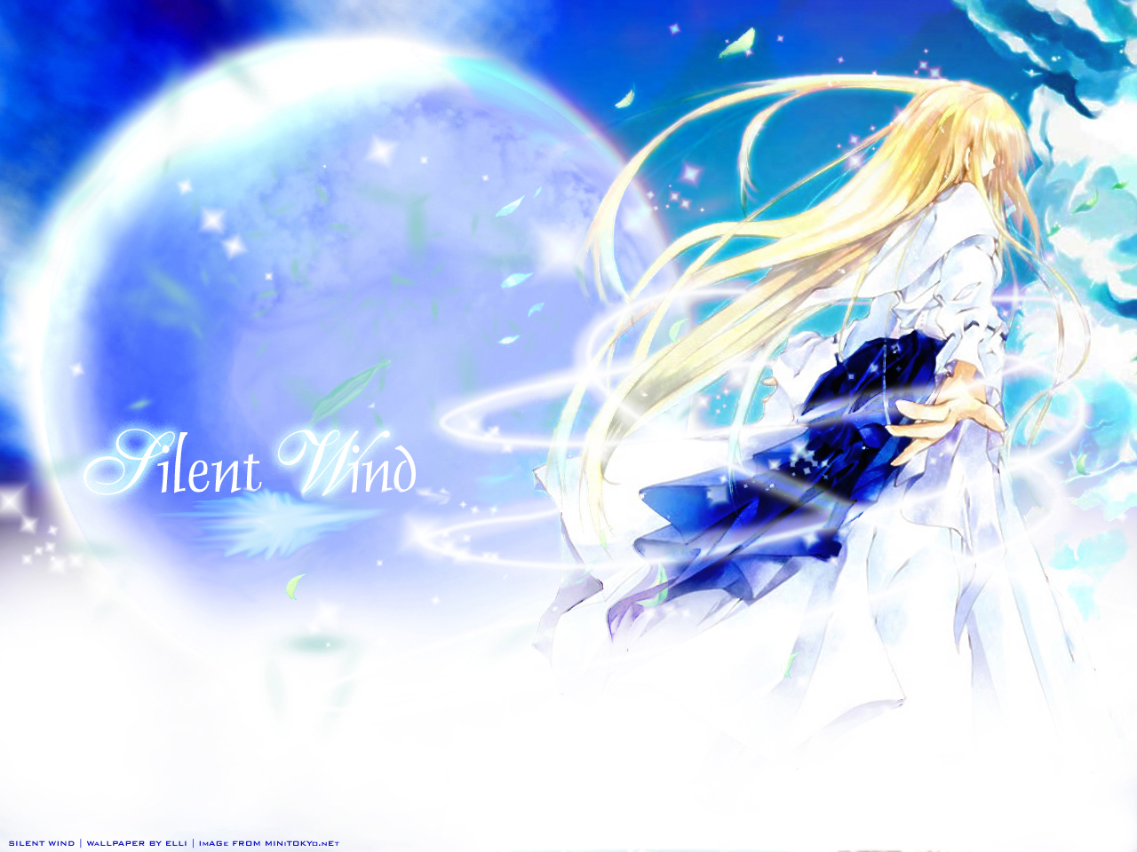 blonde_hair leaves moon sky tagme_(artist)
