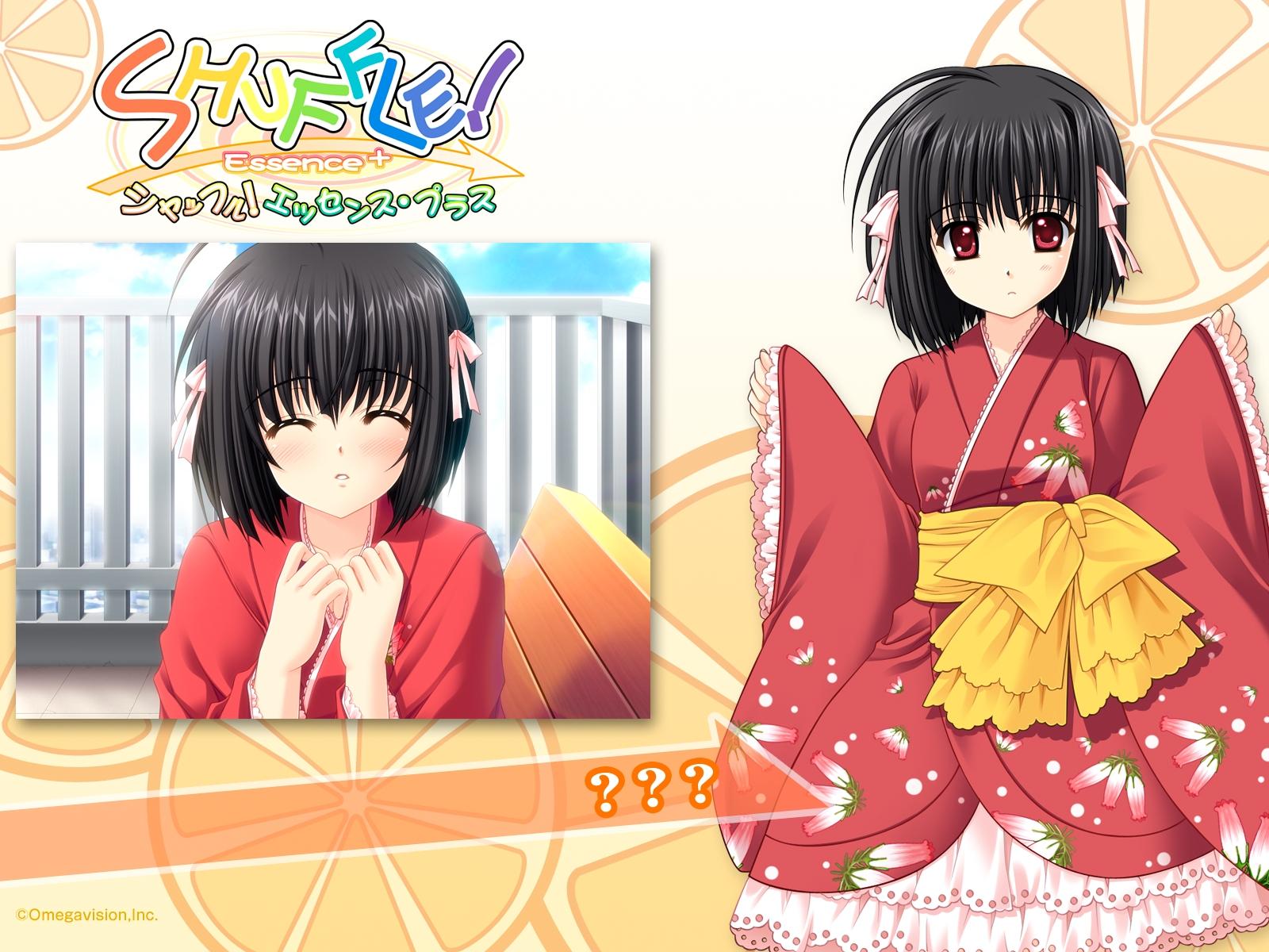 black_hair blush japanese_clothes red_eyes short_hair shuffle tagme_(character)