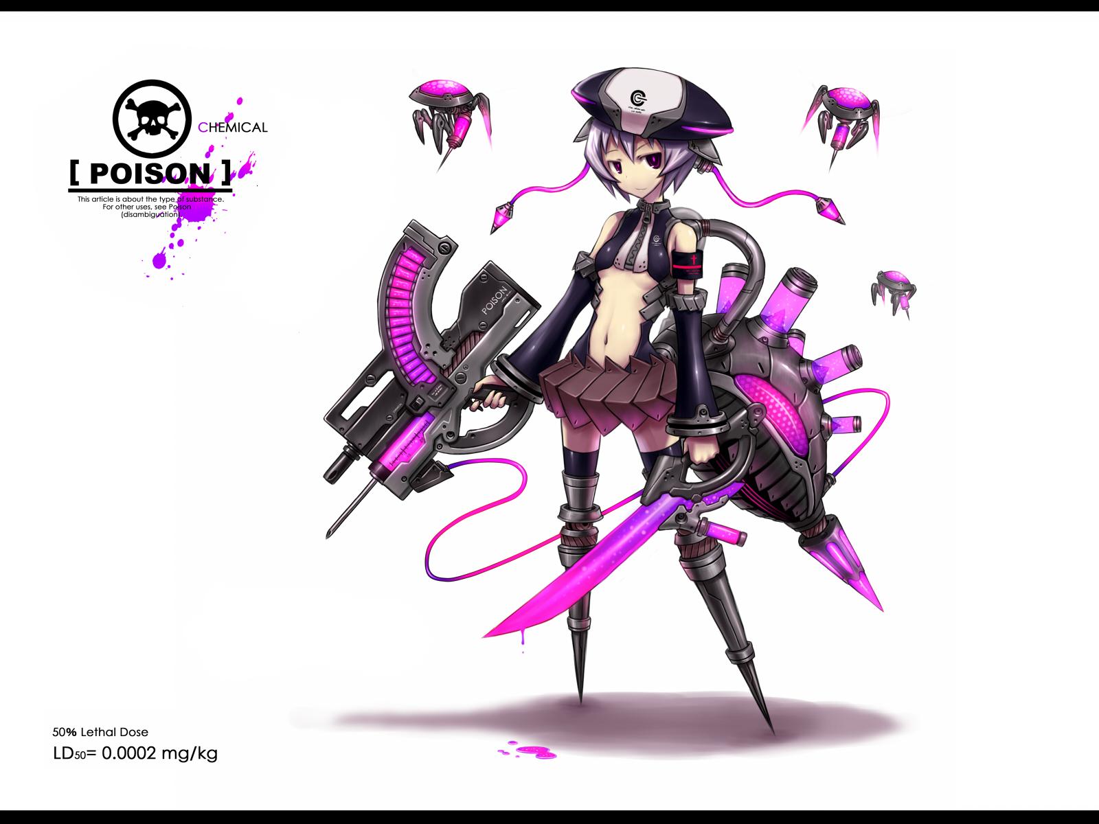 anthropomorphism gia gun hat original purple_eyes purple_hair short_hair sword tail weapon white