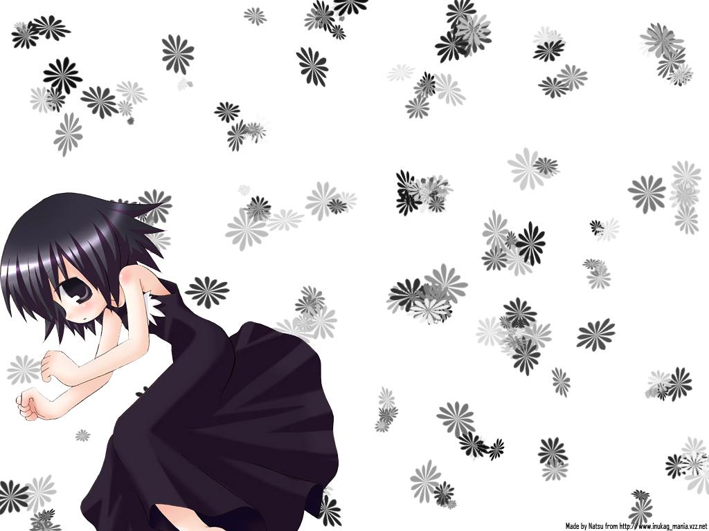 dress flowers gray_eyes gray_hair short_hair white