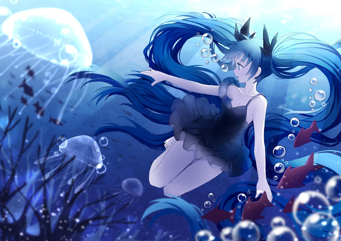 animal blue_hair bubbles deep-sea_girl_(vocaloid) dress fish green_eyes hatsune_miku long_hair summer_dress tagme_(artist) twintails underwear vocaloid water