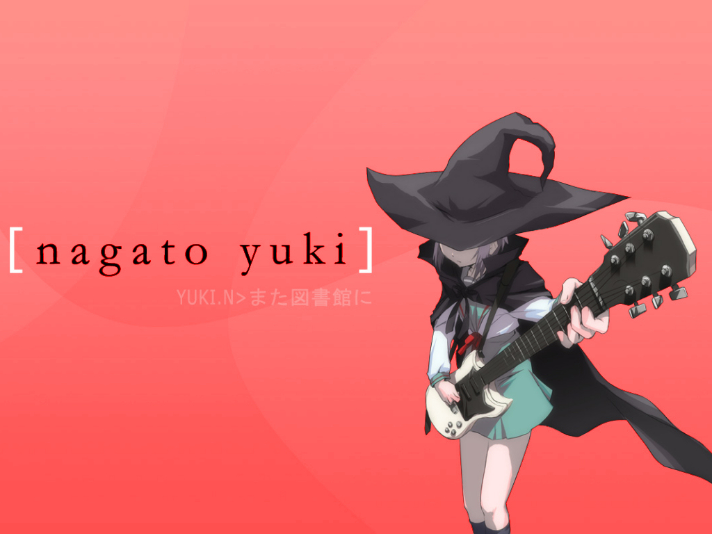 bow cape gray_hair guitar hat instrument kneehighs nagato_yuki red school_uniform short_hair suzumiya_haruhi_no_yuutsu witch