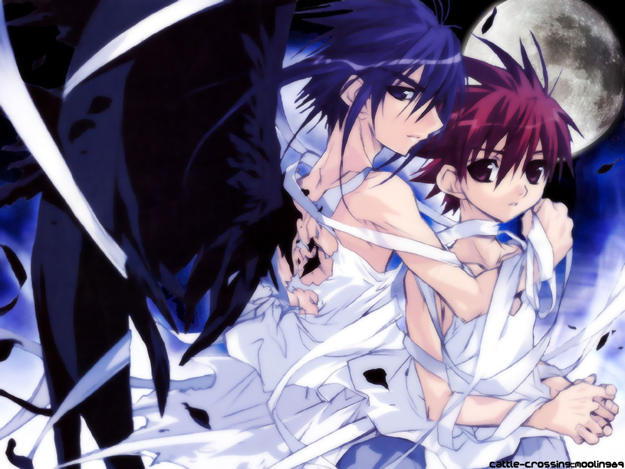 dark_mousy dnangel moon niwa_daisuke ribbons torn_clothes wings