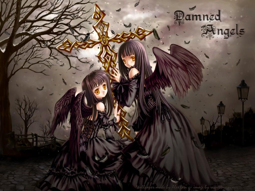 angel black_hair cross dress long_hair original tagme_(artist) wings yellow_eyes