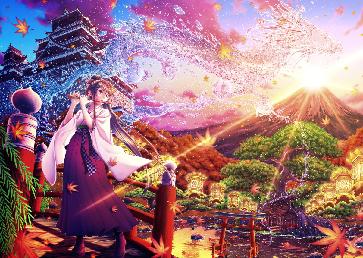 autumn boots brown_hair building clouds dragon flute instrument japanese_clothes leaves long_hair magic orange_eyes original ponytail sky sunset tagme_(artist) torii tree water