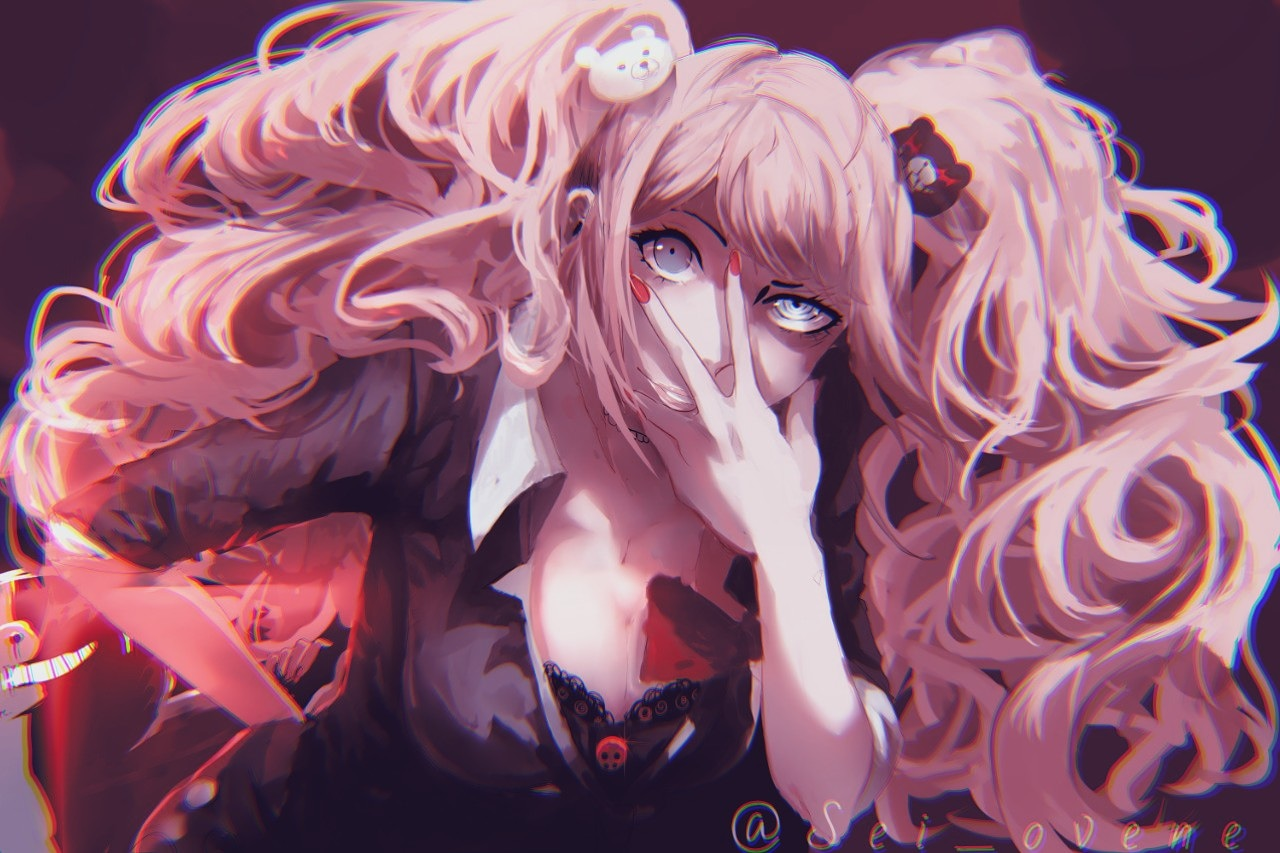 blue_eyes dangan-ronpa enoshima_junko long_hair monokuma pink_hair shinnesstar teddy_bear twintails watermark