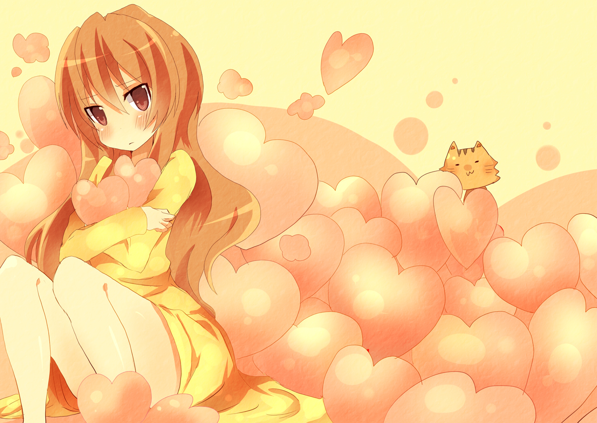 aisaka_taiga animal blush brown_eyes brown_hair dress heart long_hair palmtop_tiger tiger toradora