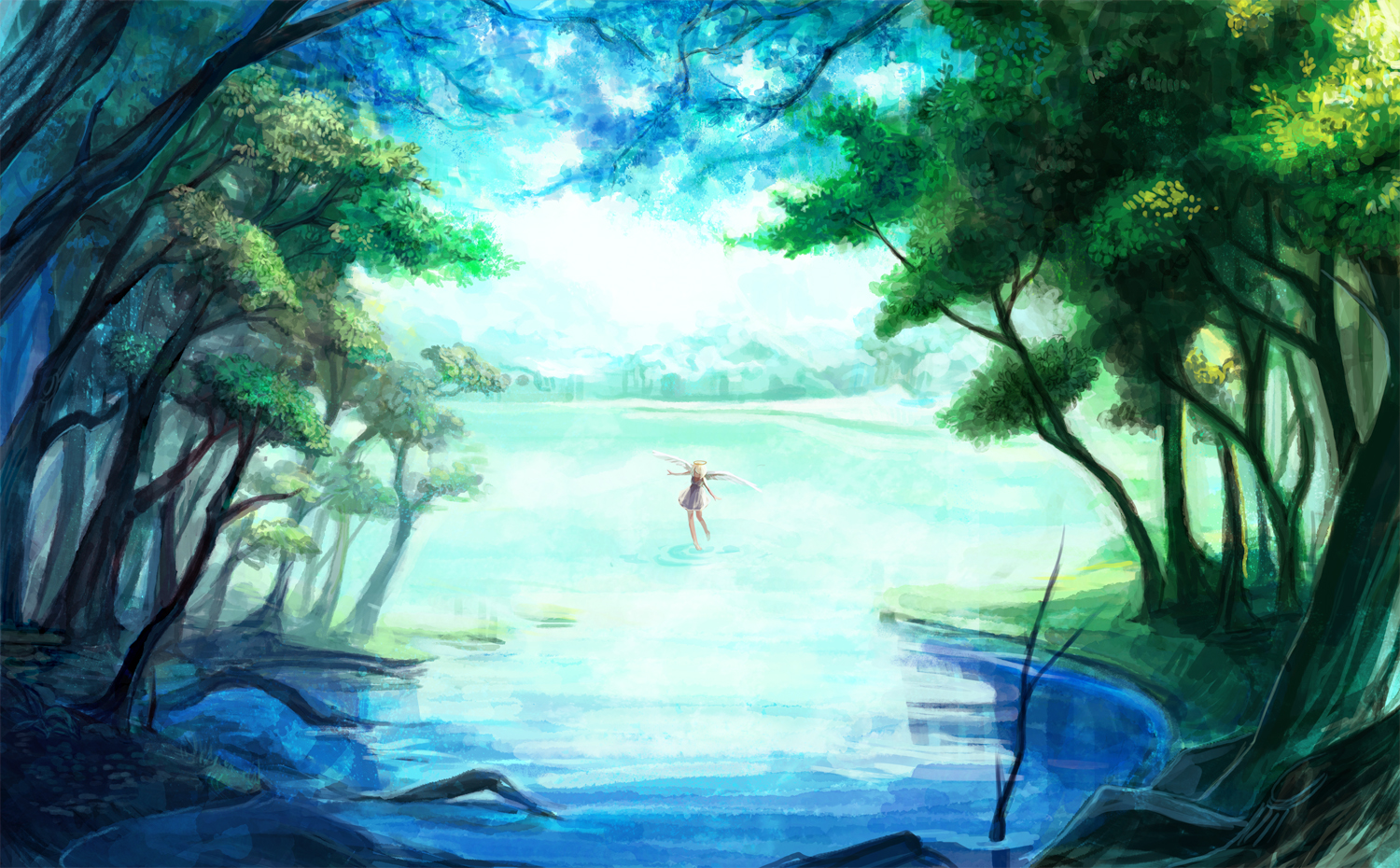 aka_tonbo_(lovetow) blonde_hair dress forest halo landscape original scenic tree water wings