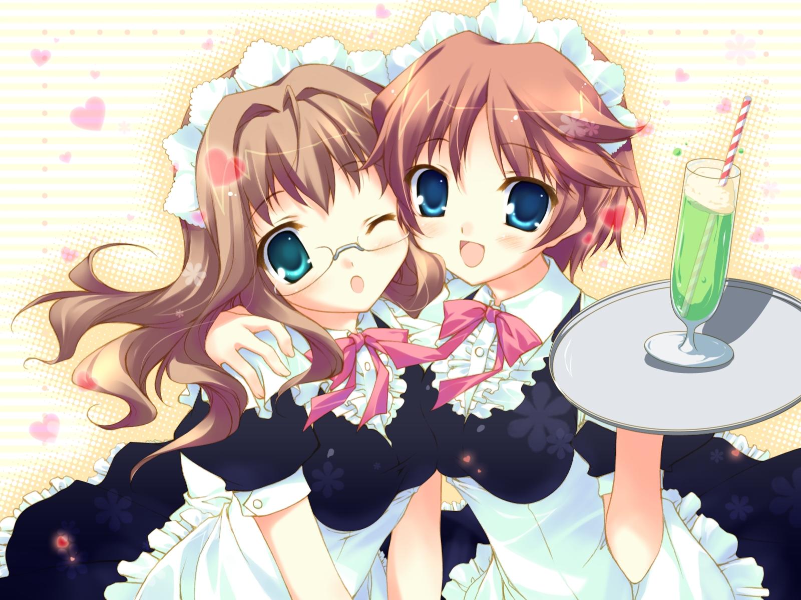 2girls aqua_eyes blue_eyes brown_hair chikotam cuffs_(studio) drink glasses hazuki_mao hazuki_rio headdress maid onii-chan_daaisuki! waitress wink