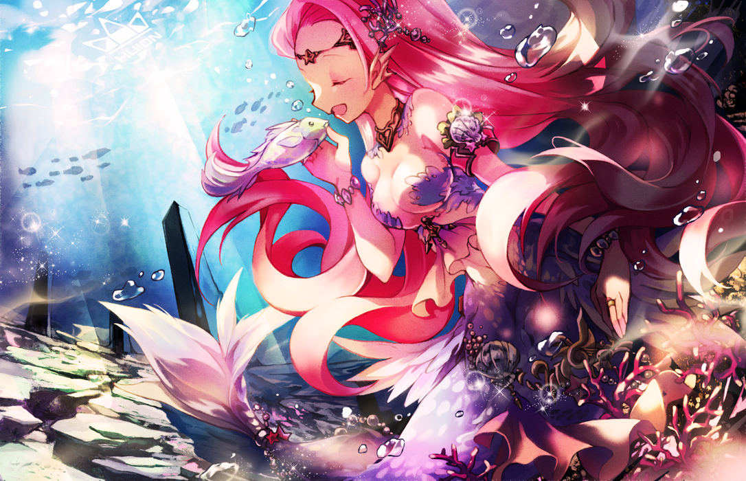 animal breasts bubbles fish long_hair mermaid original pink_hair touka_(2729712) underwater water wristwear