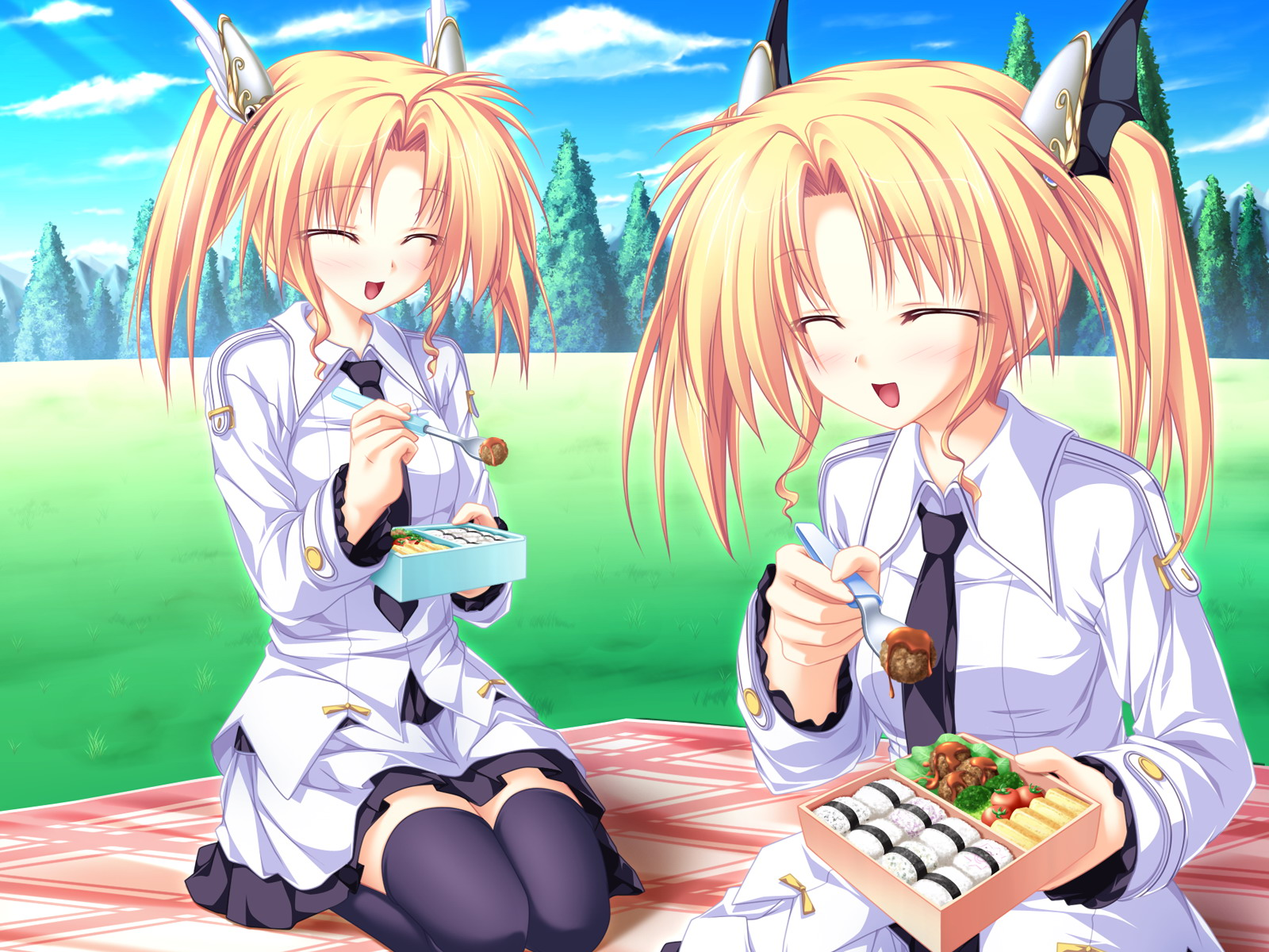 blonde_hair food game_cg grass magus_tale nina_geminis rena_geminis school_uniform sky tenmaso thighhighs tie tree twins twintails whirlpool