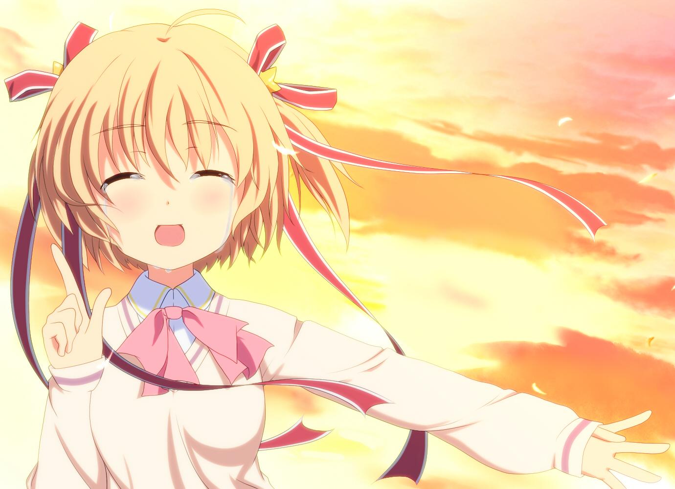 blonde_hair close clouds crying kamikita_komari kengo619 little_busters! ribbons short_hair sky sunset tears