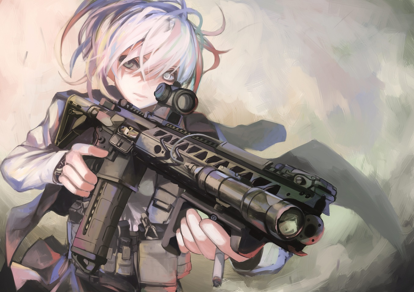 cigarette gray_eyes gun koh_(minagi_kou) original weapon white_hair