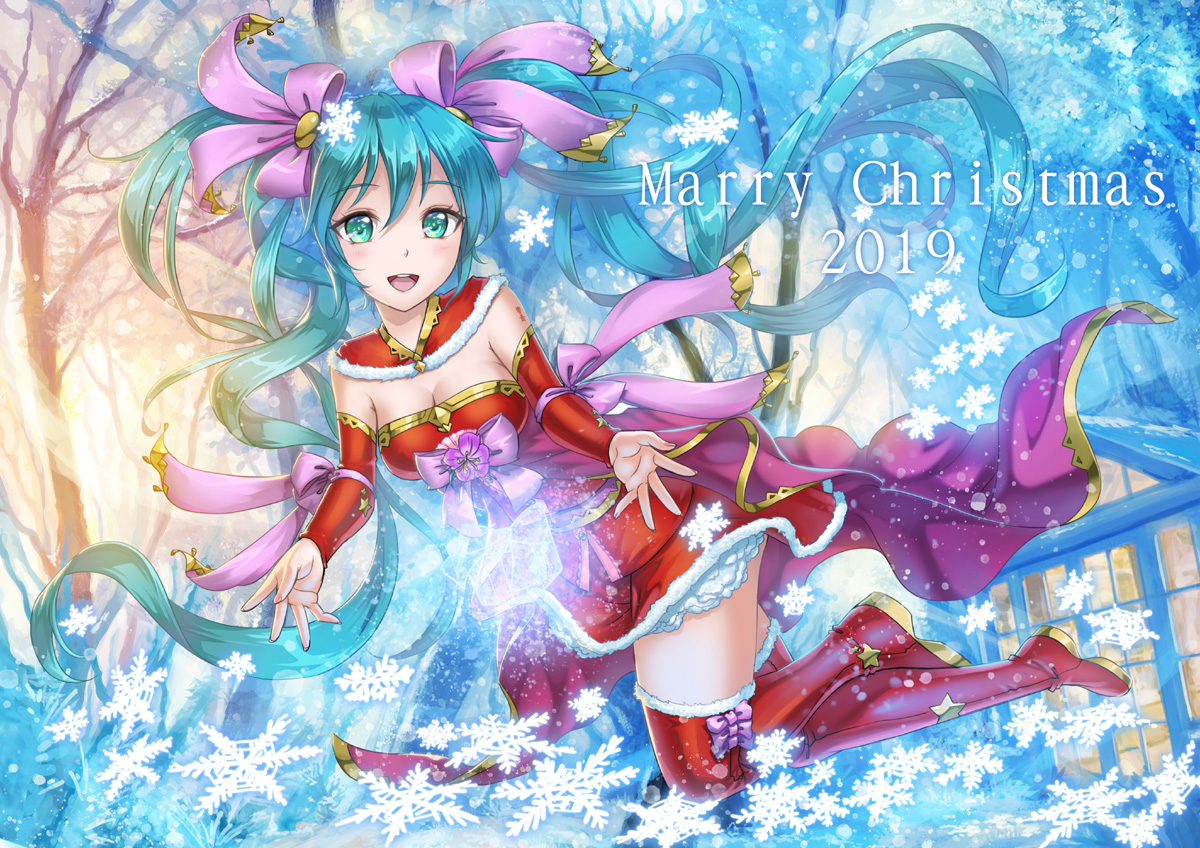 christmas crazypen hatsune_miku long_hair twintails vocaloid