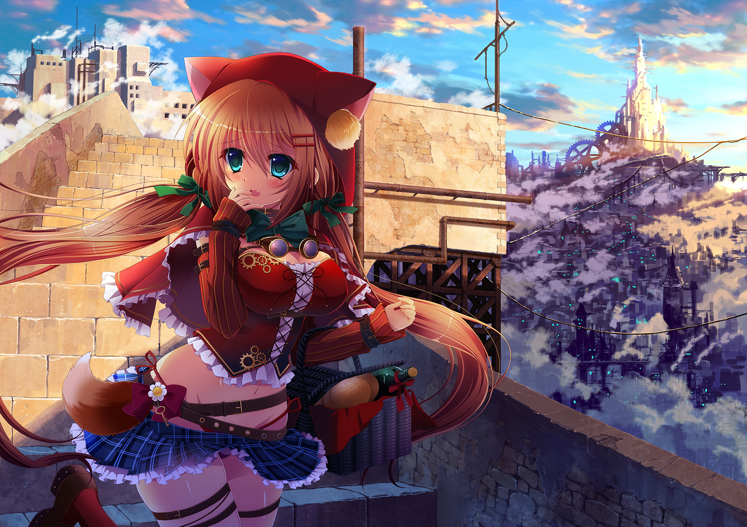 animal_ears aqua_eyes bow breasts brown_hair cape cleavage drink food hoodie ichi_rin little_red_riding_hood long_hair original red_riding_hood ribbons skirt twintails