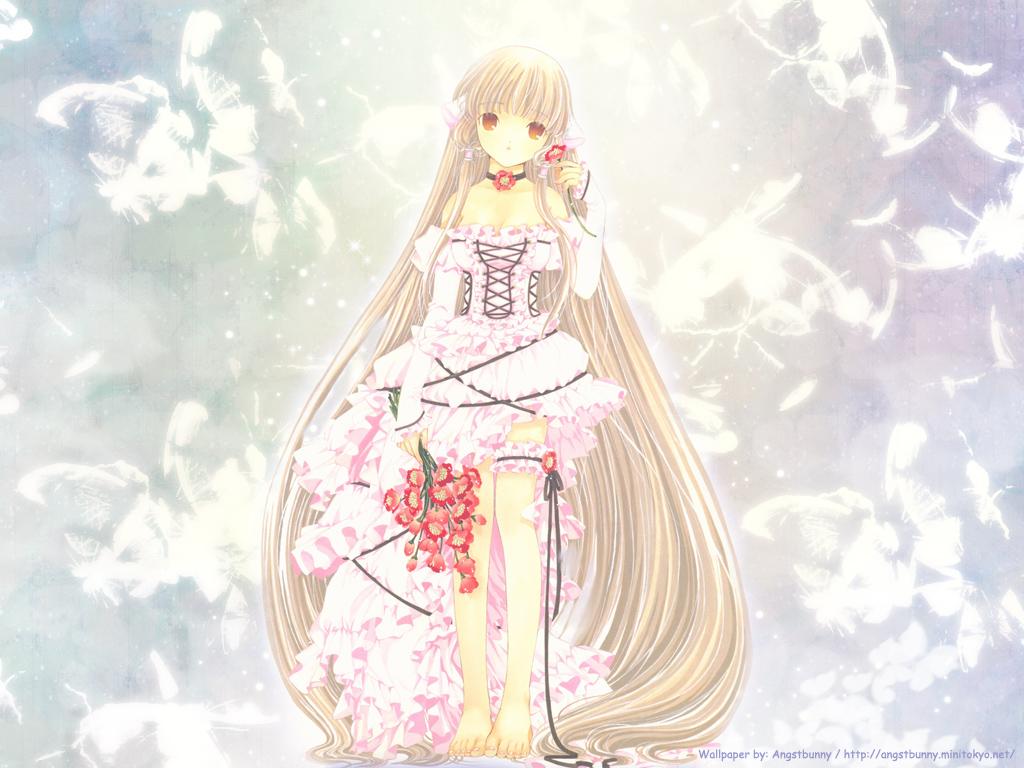 barefoot blonde_hair chii chobits choker clamp dress feathers flowers garter lolita_fashion long_hair