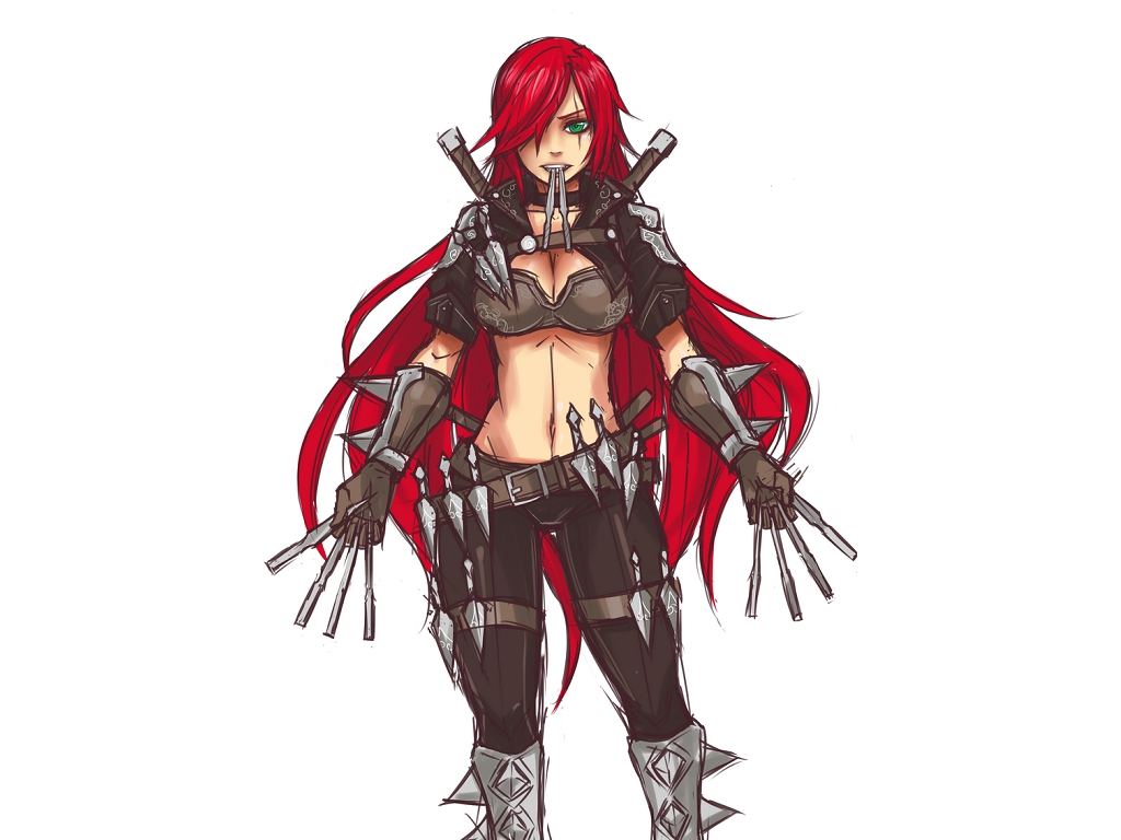 green_eyes katarina league_of_legends navel red_hair scar sword weapon white