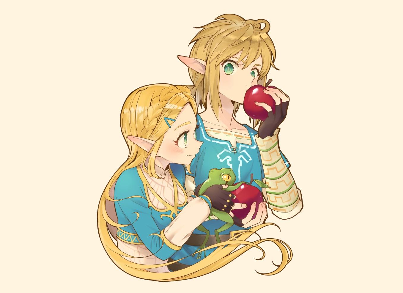aliasing animal apple braids food frog fruit gloves green_eyes kimitoshiin link_(zelda) long_hair male pointed_ears ponytail princess_zelda short_hair the_legend_of_zelda