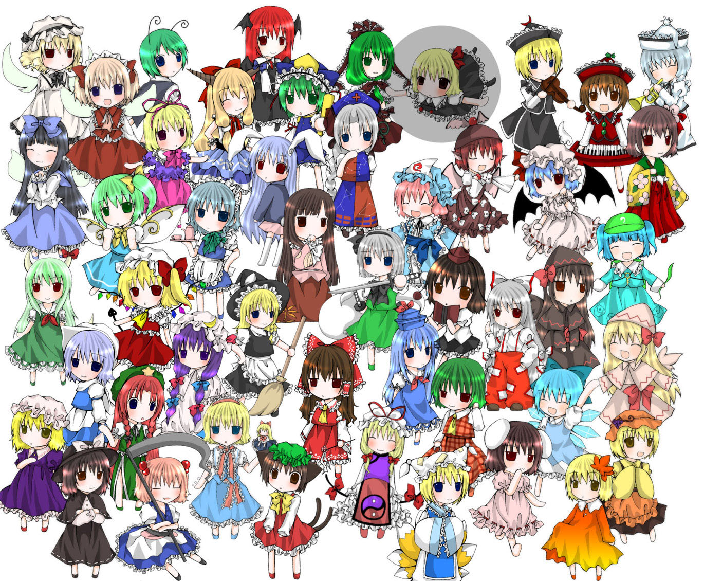 aki_minoriko aki_shizuha alice_margatroid animal_ears black_hair blonde_hair blue_eyes blue_hair book brown_eyes brown_hair bunny_ears bunnygirl catgirl chen chibi chinese_clothes chinese_dress cirno daiyousei demon doll dress ex_keine fairy flandre_scarlet foxgirl fujiwara_no_mokou gray_hair green_eyes green_hair group hakurei_reimu hat hieda_no_akyuu hong_meiling horns houraisan_kaguya ibuki_suika inaba_tewi izayoi_sakuya japanese_clothes kagiyama_hina kamishirasawa_keine kawashiro_nitori kazami_yuuka kimoke-ne kirisame_marisa koakuma konpaku_youmu letty_whiterock lily_black lily_white long_hair luna_child lunasa_prismriver lyrica_prismriver maid maribel_han medicine_melancholy merlin_prismriver miko multiple_tails myon mystia_lorelei onozuka_komachi patchouli_knowledge pink_hair purple_eyes purple_hair red_eyes red_hair reisen_udongein_inaba remilia_scarlet ribbons rumia saigyouji_yuyuko scythe shameimaru_aya shanghai_doll shiki_eiki short_hair skirt star_sapphire sunny_milk sword tail thighhighs touhou usami_renko vampire weapon wings witch wriggle_nightbug yagokoro_eirin yakumo_ran yakumo_yukari yellow_eyes