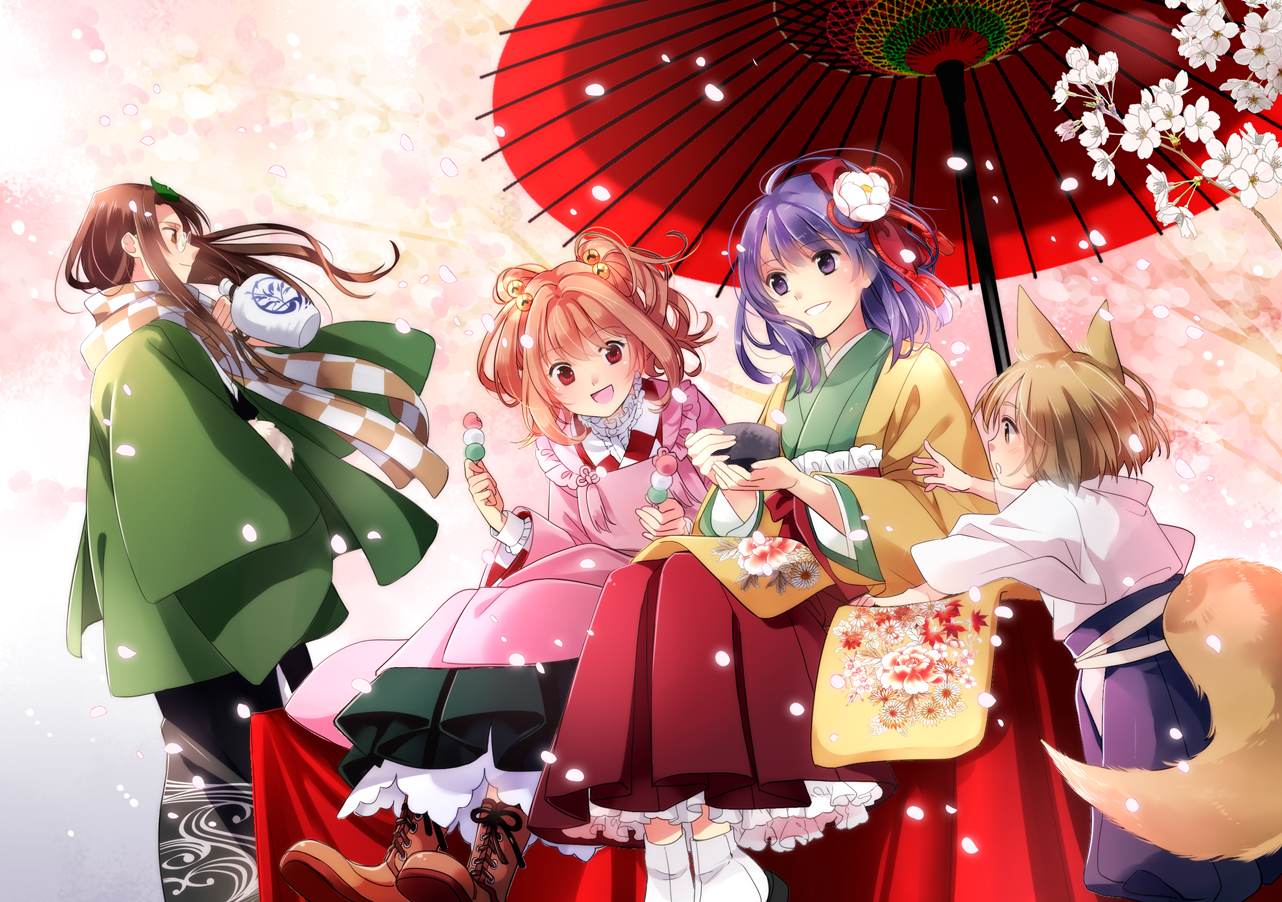 animal_ears bell boots brown_eyes brown_hair cherry_blossoms flowers food futatsuiwa_mamizou glasses hieda_no_akyuu japanese_clothes koma_midori long_hair male miko motoori_kosuzu petals purple_eyes purple_hair red_eyes short_hair socks tail touhou twintails umbrella youkai_fox_(forbidden_scrollery)