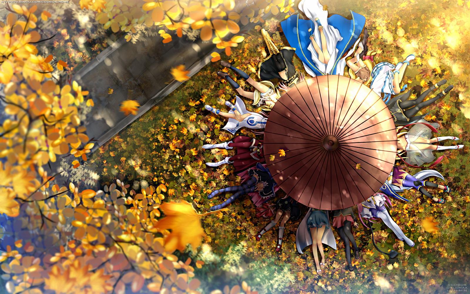 aa_megami-sama aria asakura_nemu autumn baka_to_test_to_shoukanjuu belldandy crossover da_capo dxlsmax_(lizhimin) ikamusume kanokon katanagatari kimi_ga_aruji_de_shitsuji_ga_ore_de kirishima_shouko kuonji_shinra lala_satalin_deviluke leaves lina_inverse lisa marin megurine_luka minamoto_chizuru mizunashi_akari panty_&_stocking_with_garterbelt seiken_no_blacksmith shinryaku!_ikamusume slayers stocking_(character) togame to_love_ru tree umbrella umi_monogatari umineko_no_naku_koro_ni ushiromiya_maria vocaloid