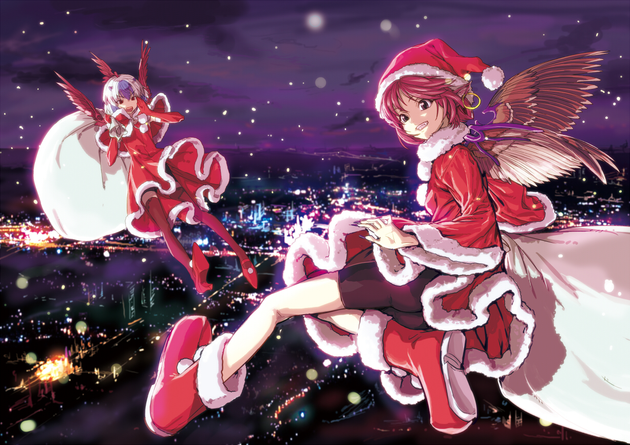 2girls animal_ears bike_shorts blush boots brown_eyes building christmas city elbow_gloves gloves gray_hair hat horns mystia_lorelei night purple_hair red_eyes red_hair santa_costume shiba_itsuki short_hair shorts sky thighhighs tokiko touhou wings
