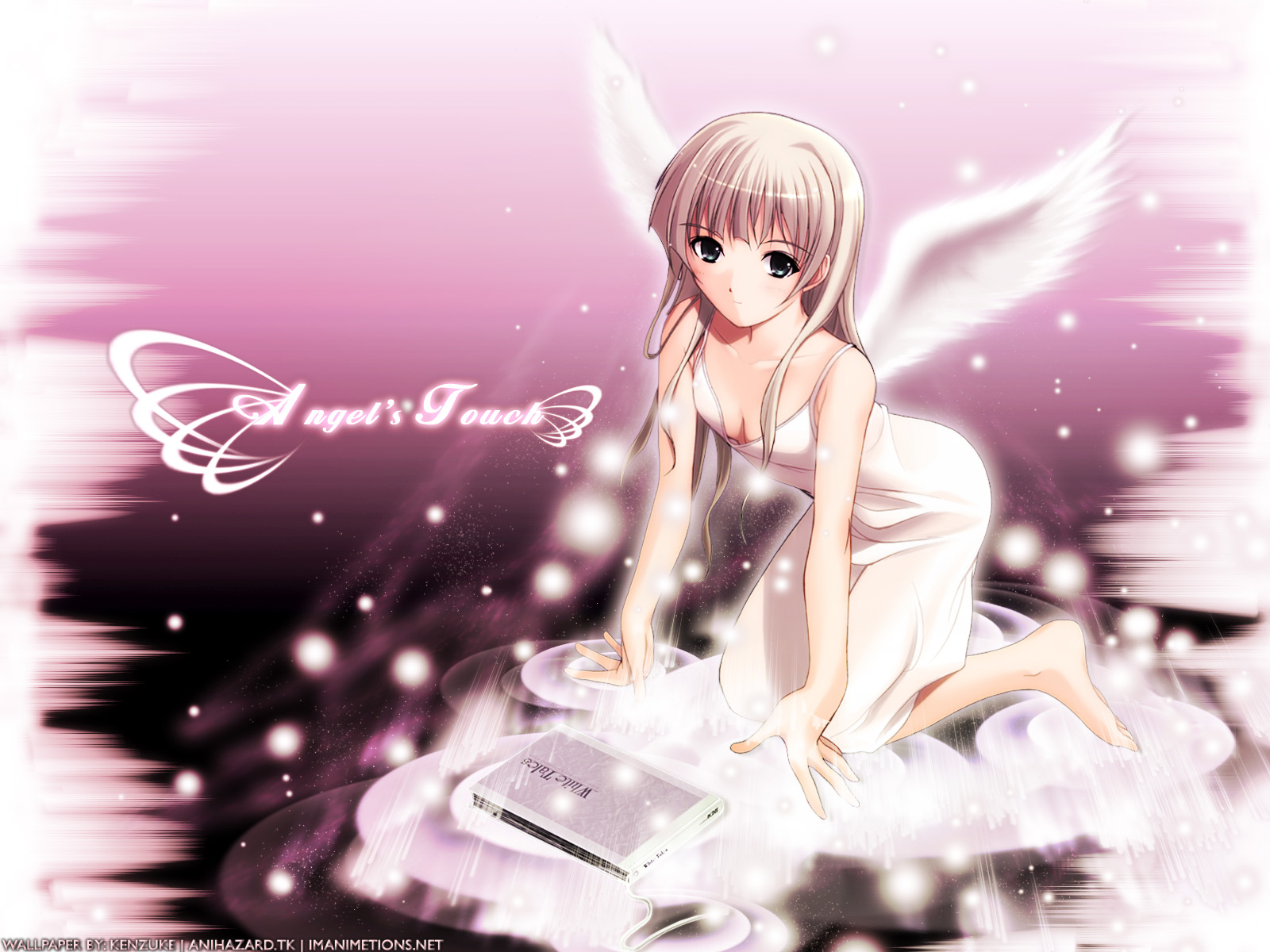 barefoot blonde_hair blue_eyes book breasts dress long_hair no_bra purple wings