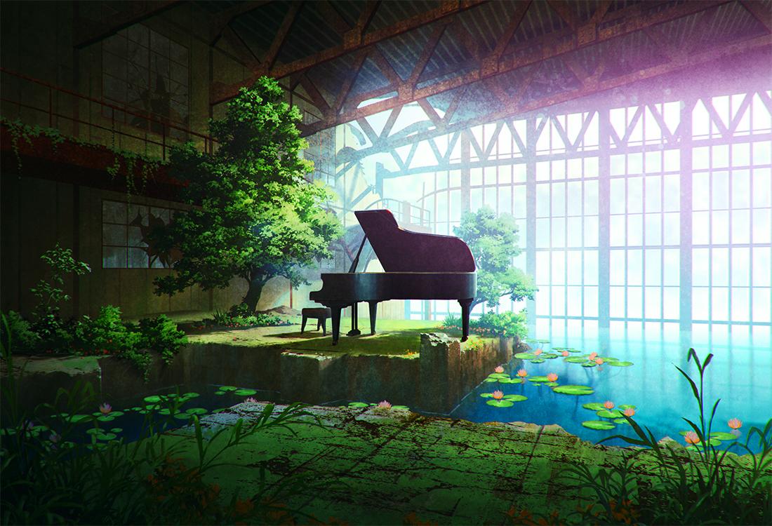 flowers grass instrument mocha_(cotton) nobody original piano ruins scenic signed tree water