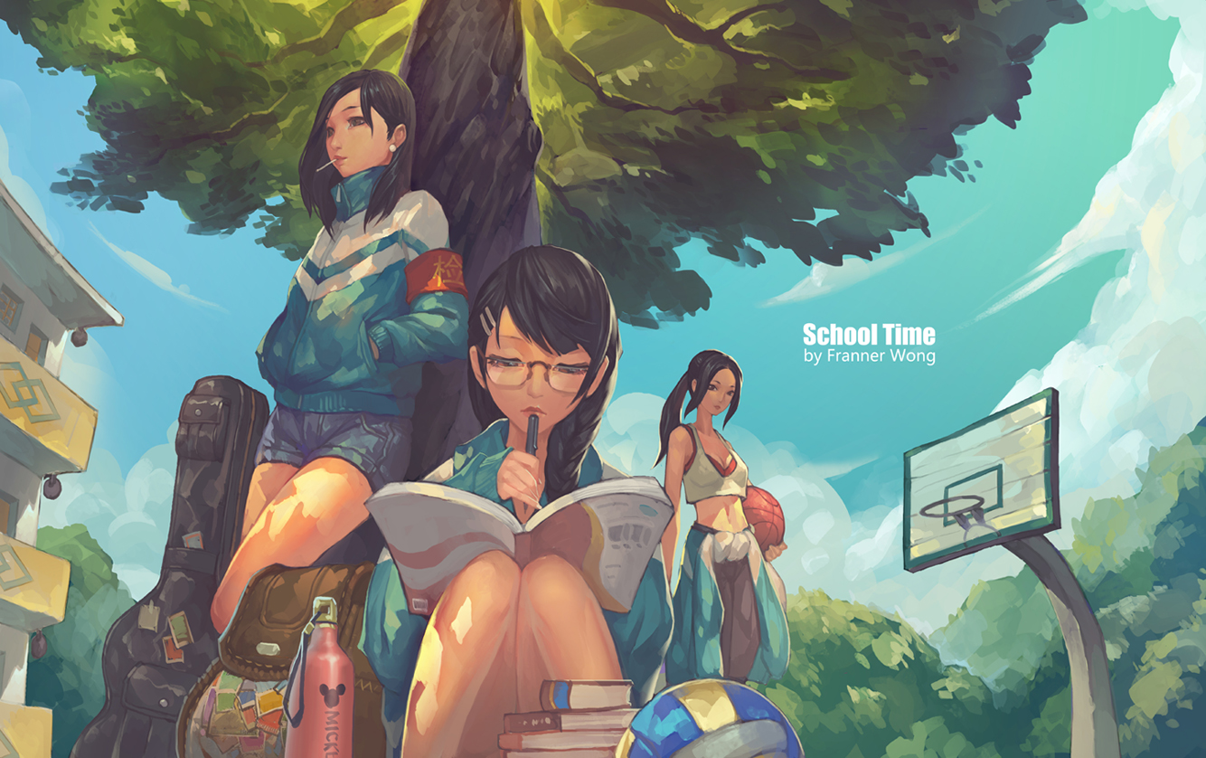 ball basketball black_hair book braids building clouds drink franner glasses guitar instrument long_hair ponytail shorts sky sport tree volleyball
