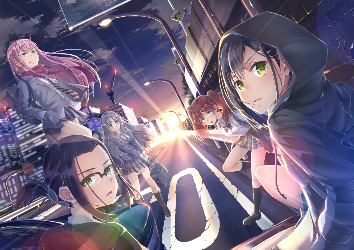 blue_eyes blue_hair bow brown_hair building city clouds darling_in_the_franxx glasses green_eyes group hoodie horns ichigo_(darling_in_the_franxx) ikuno_(darling_in_the_franxx) imo_bouya kneehighs kokoro_(darling_in_the_franxx) long_hair miku_(darling_in_the_franxx) pink_hair ponytail scarf school_uniform short_hair sky sunset tie twintails zero_two