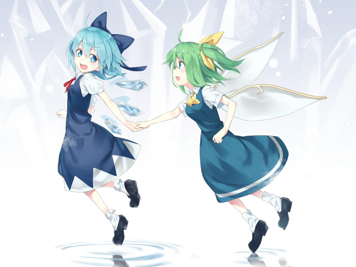 2girls aqua_eyes aqua_hair asutora bow cirno daiyousei dress fairy green_eyes green_hair ponytail short_hair socks touhou water wings