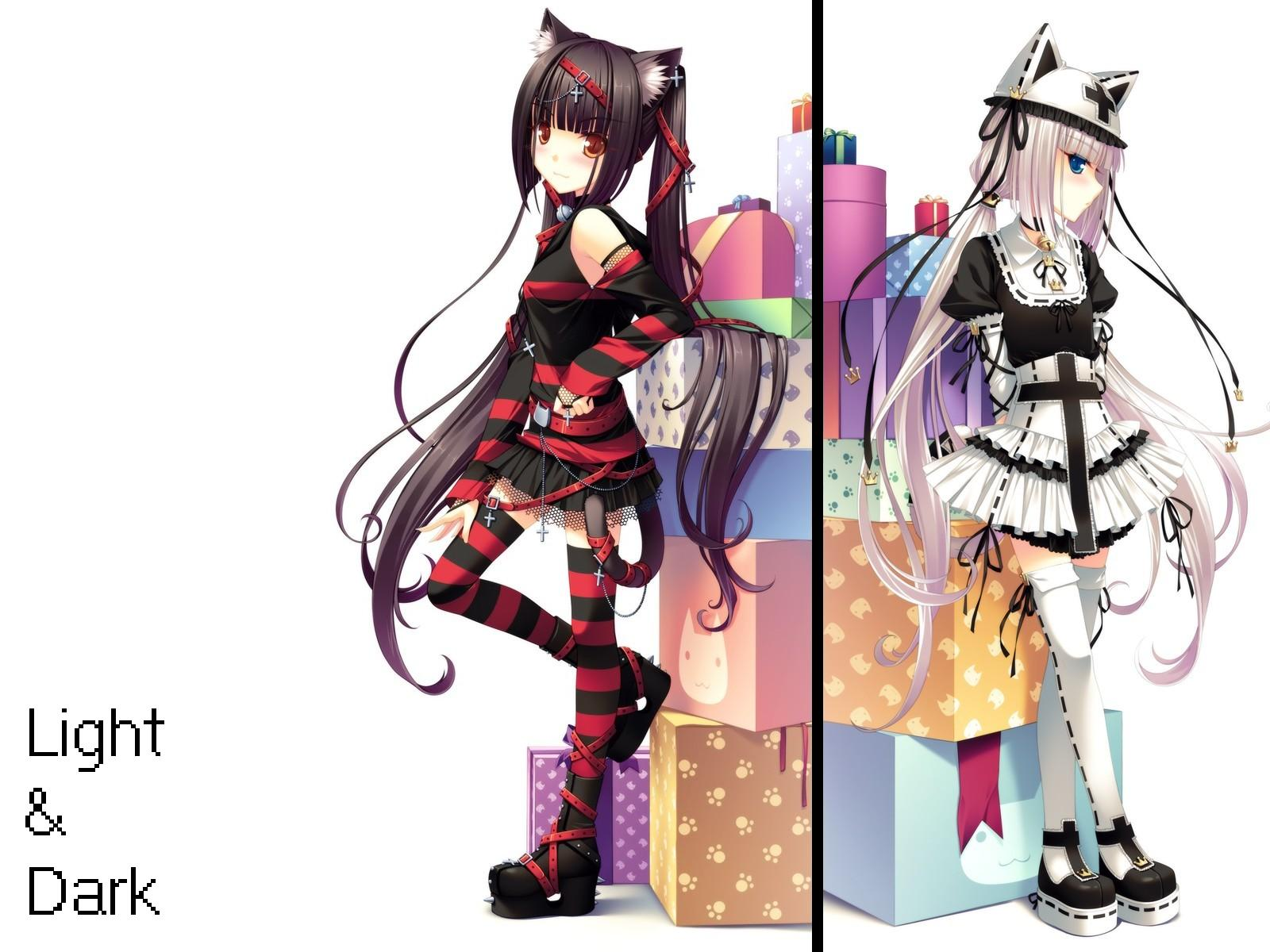 2girls animal_ears bell black_hair blue_eyes blush boots catgirl chocola_(sayori) choker cross dress food goth-loli hat jpeg_artifacts lolita_fashion long_hair nekopara neko_works orange_eyes original ribbons sayori skirt tail thighhighs twintails vanilla_(sayori) white white_hair zettai_ryouiki
